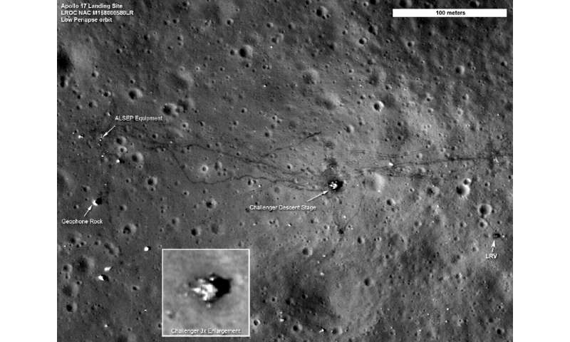 A NASA photo taken on September 6, 2011 shows the Apollo 17 landing site, taken by the Lunar Reconnaissance Orbiter Camera in or