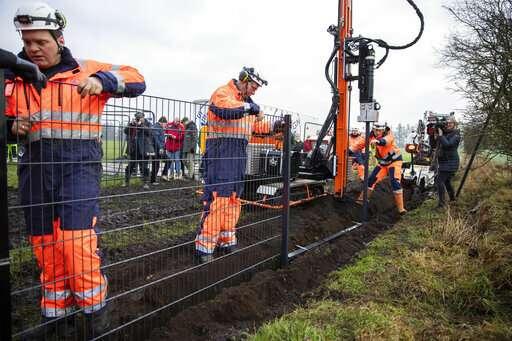 Danes erect fence on German border to stop swine fever