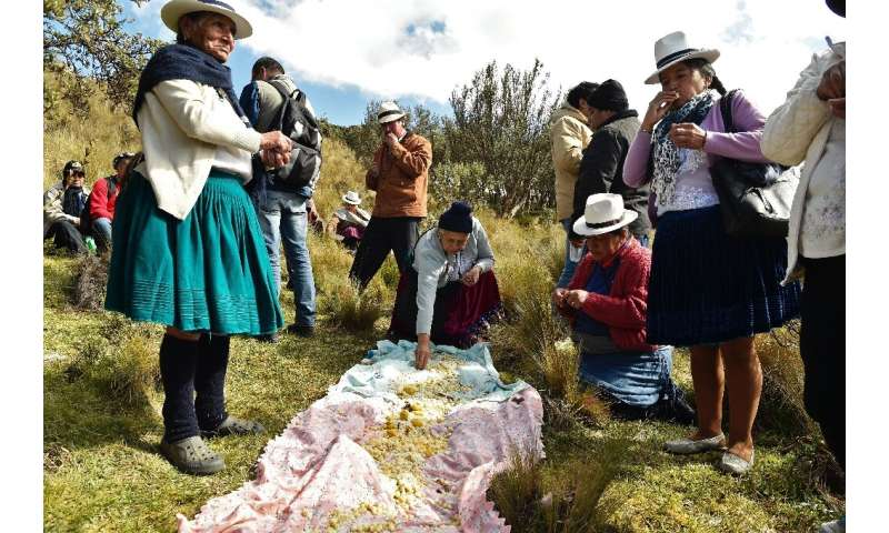 Indigenous people share a traditional lunch in Quimsacocha, Ecuador