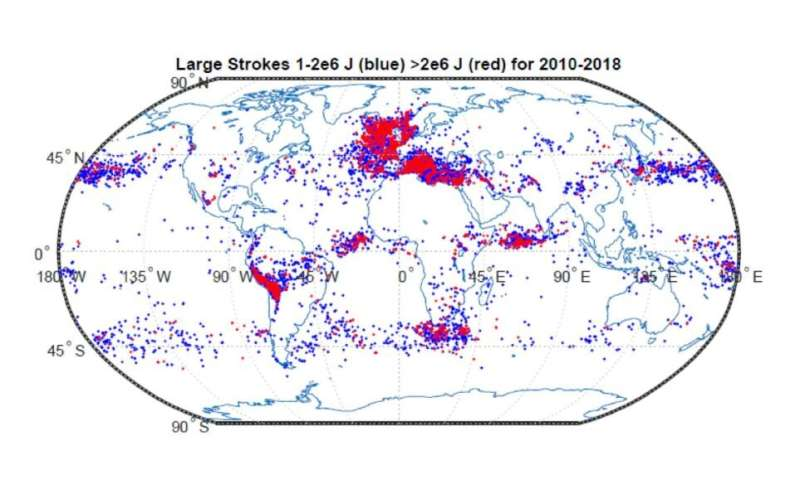 Lightning 'superbolts' form over oceans from November to February