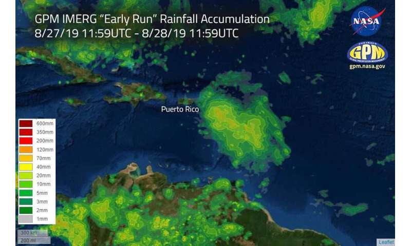 NASA estimates heavy rainfall in Hurricane Dorian