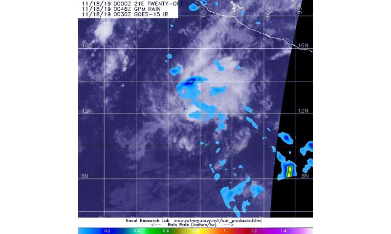 NASA finds light rain in fading Tropical Depression 21E