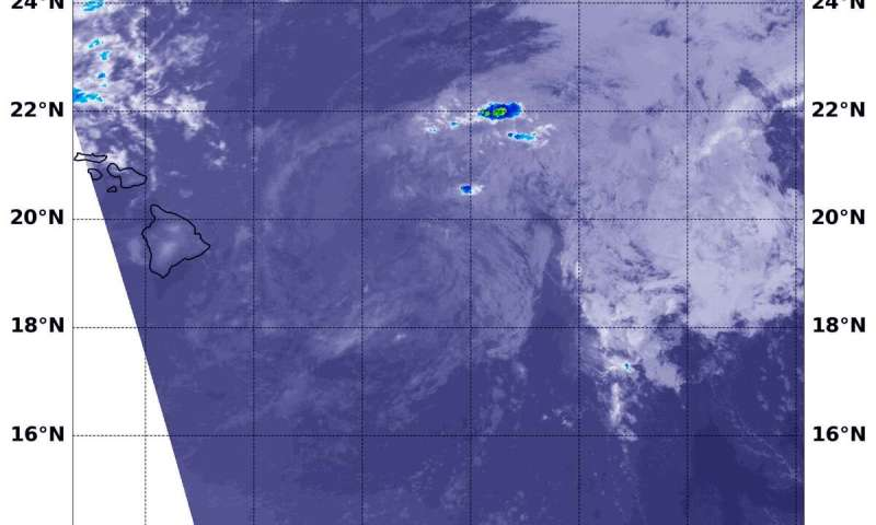 NASA finds one small area of strong storms left in fading Flossie