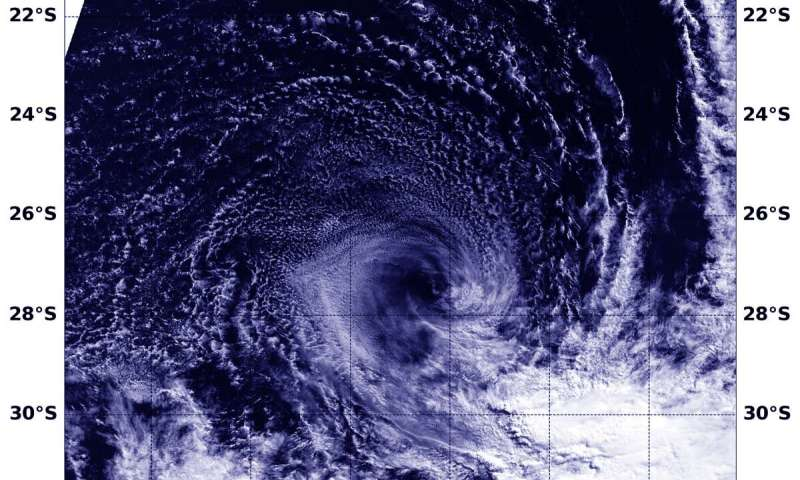 NASA finds wind shear tearing apart Subtropical Cyclone Joaninha