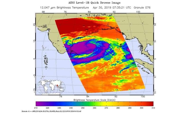 NASA satellites track Tropical Cyclone Fani along Eastern India's coastline