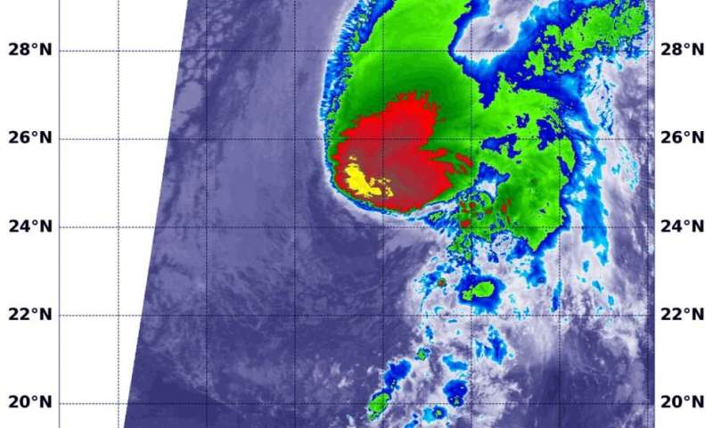 NASA's infrared analysis of Tropical Storm Sebastien sees wind shear