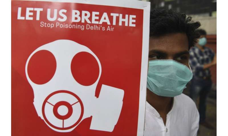 Participants wore face masks at a rally against air pollution in New Delhi