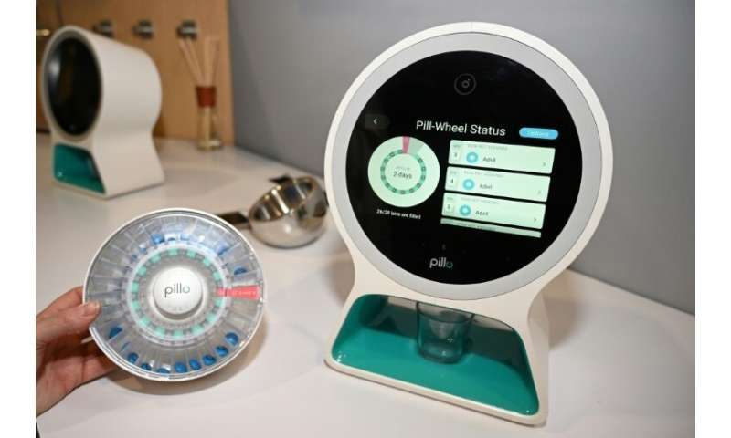 Pillo, an all-in-one pill dispenser, personal digital assistant, and communication device is displayed at the 2019 Consumer Elec