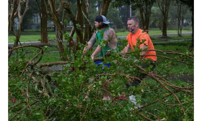 Residents remove a downed tree from a road in Morgan City, Louisiana
