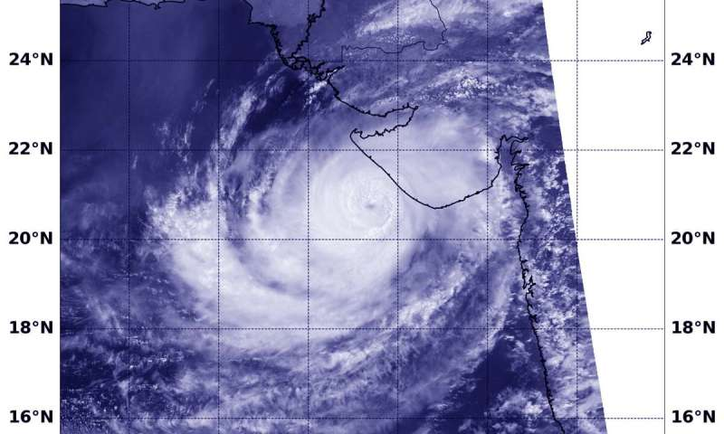 Satellite sees tropical cyclone Vayu centered off India coastline