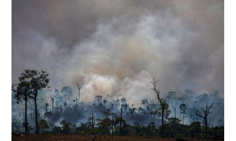 Smokes rises from forest fires in Altamira, in Brazilian the Amazon basin state of Para, in late August 2019
