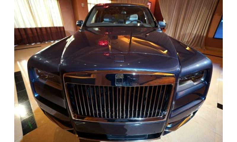 The first SUV made by Rolls-Royce, the Rolls-Royce Cullinan, is on display in Detroit on January 13, 2019 at an event that offic