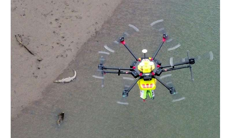 The high-tech drones known as 'croc spotters' were tested along riverbeds, detecting animals as they went