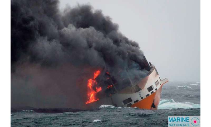 The Italian cargo ship 'Grande America' sank off the French Atlantic coast after a fire got out of control