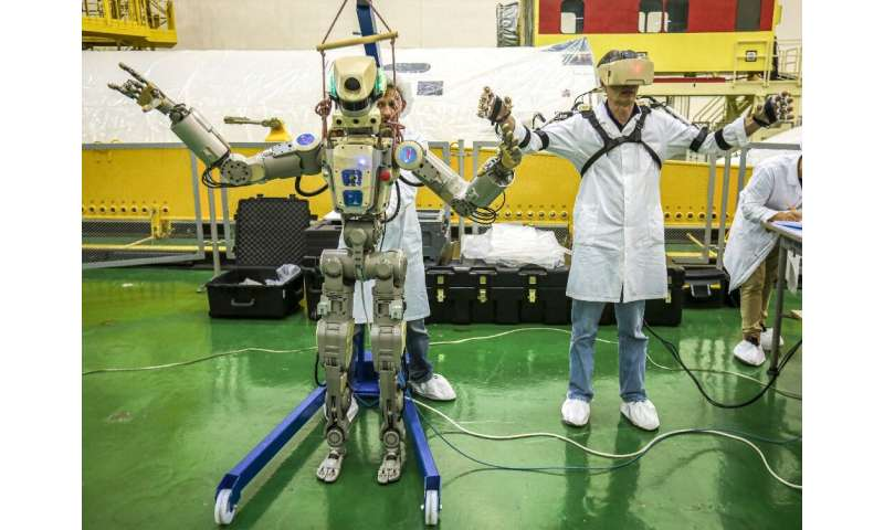The robot can be operated manually by ISS astronauts wearing exoskeleton suits and it mirrors their movements
