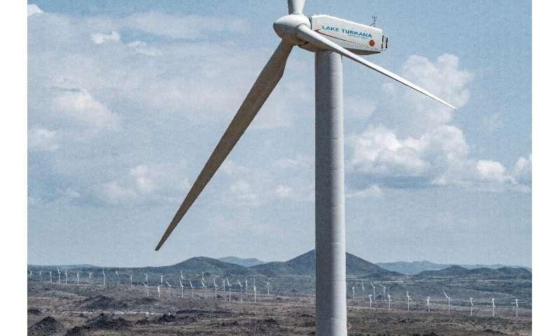 The sprawling 365-turbine wind farm is on the eastern shores of Lake Turkana