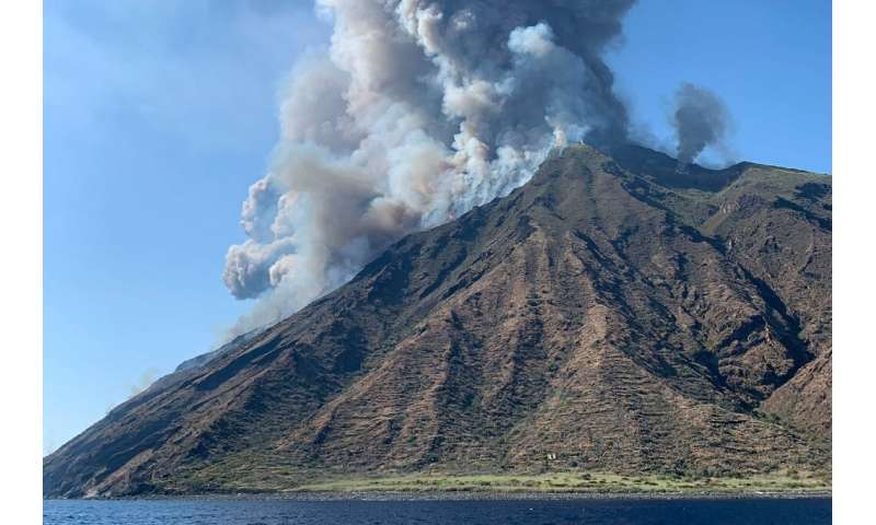 The Stromboli volcano sent plumes of smoke two kilometres (over a mile) into the sky