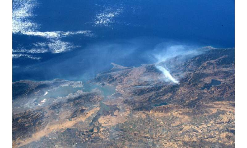 This image taken by NASA astronaut Andrew Morgan aboard the International Space Station shows smoke from the Kincade Fire in Son