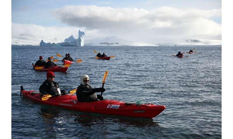 Tourists travel by kayak on Half Moon island, Antarctica