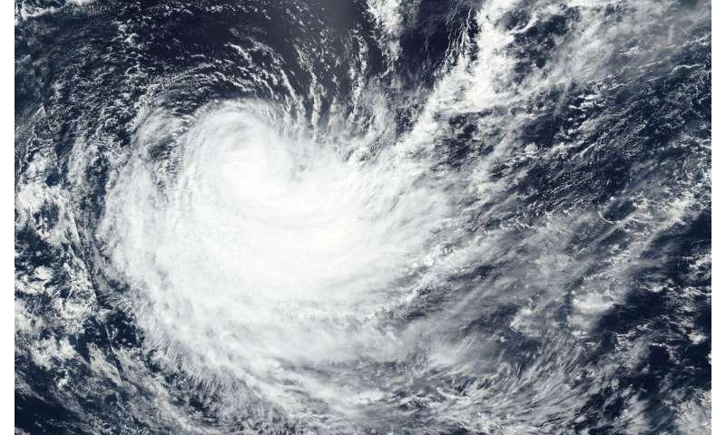 Tropical Cyclone Haleh weakening in NASA-NOAA satellite imagery