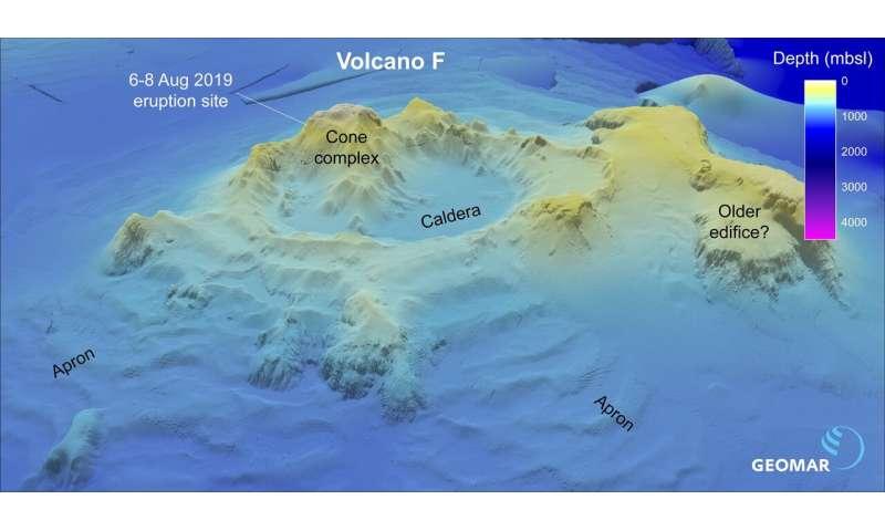 Volcano F is the origin of 'floating stones'