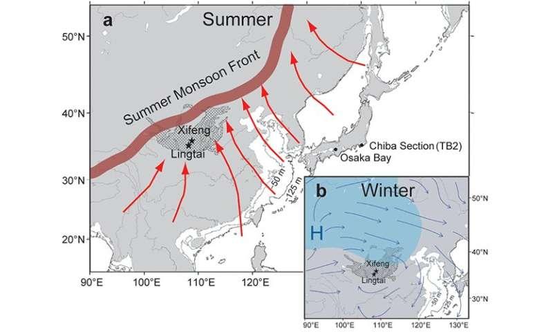 Winter monsoons became stronger during geomagnetic reversal