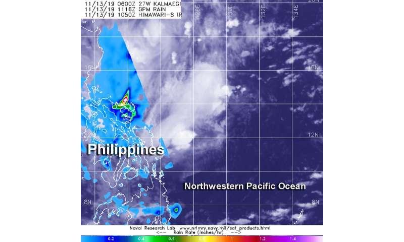 NASA finds heavy rainfall along Central Philippine Coast from Tropical Depression Kalmaegi