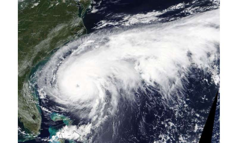 NASA satellite provides a view of a large hurricane Humberto