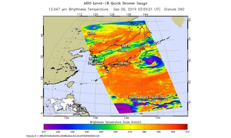 NASA finds Tropical Storm Faxai's heavy rainmaking storms off-shore from Japan