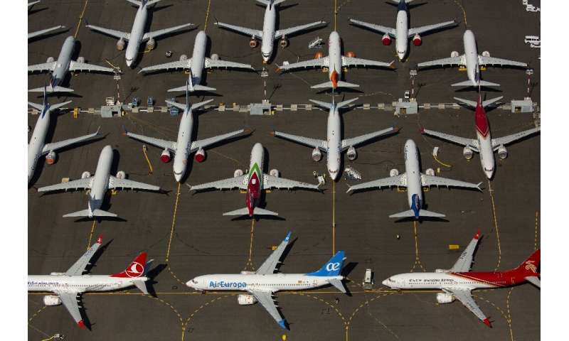 Boeing 737 MAX airplanes are seen parked near Boeing Field in Seattle, Washington