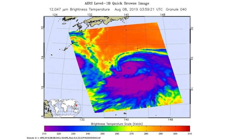 NASA's Aqua Satellite finds a large ragged eye in Typhoon Krosa