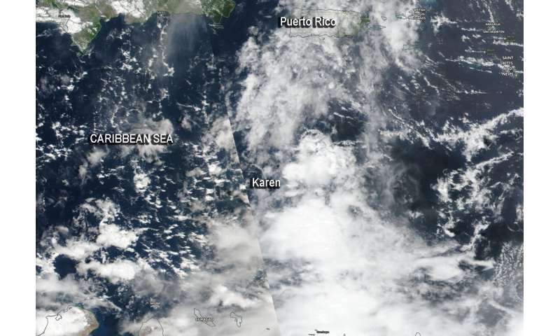 NASA satellite identified a less-organized Caribbean Tropical Storm Karen