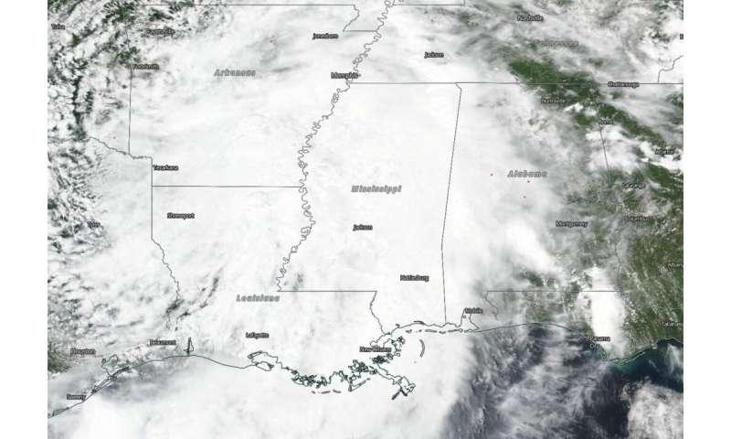 NASA-NOAA satellite tracking Barry through Louisiana, Arkansas