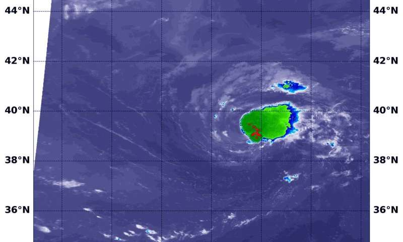 NASA's aqua satellite finds a weaker chantal, now a depression