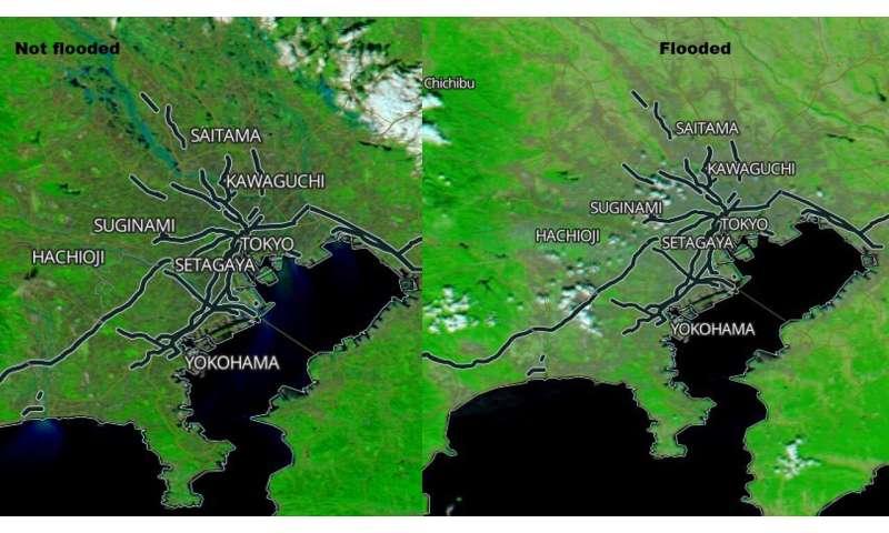 NASA's Aqua satellite reveals flooding in Japan from Typhoon Hagibis
