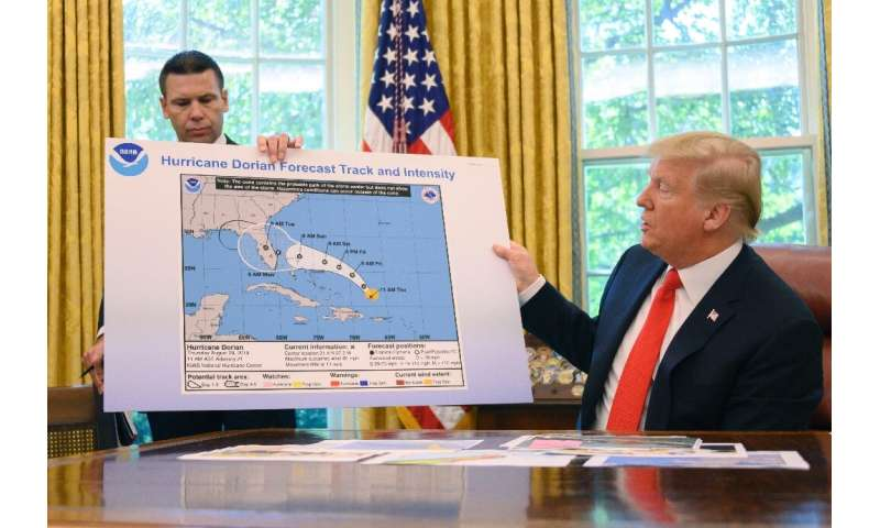 US President Donald Trump says Florida was lucky to escape a hit from Hurricane Dorian