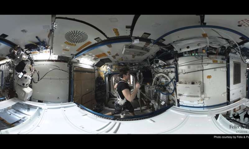 A virtual reality camera captures life and science aboard the space station