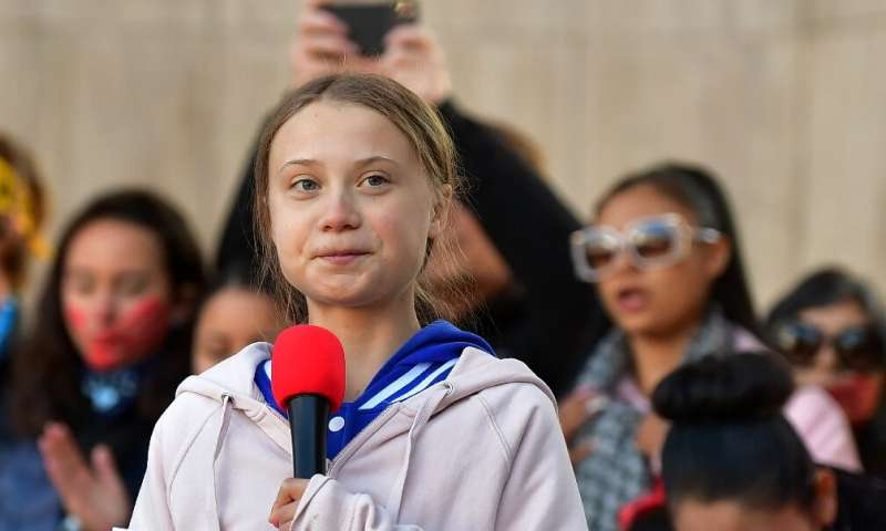 Greta Thunberg, shown here speaking in Denver, Colorado on October 11, 2019, has become the face of the fight against political