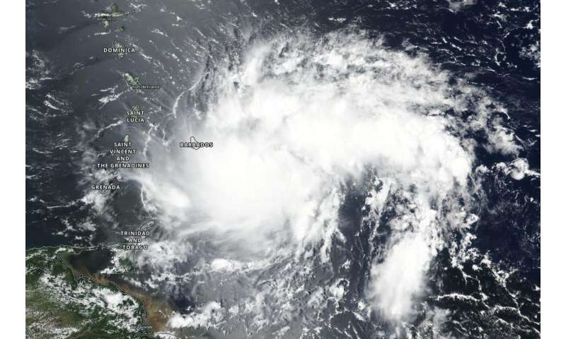 NASA analyzes Tropical Storm Dorian day and night