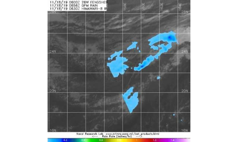 NASA finds light rain in fading tropical depression fengshen