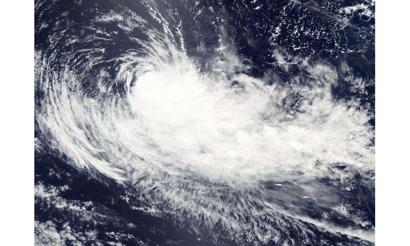 NASA's Aqua satellite shows winds shear affecting Tropical Cyclone Gelena