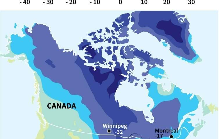 North America in deep freeze