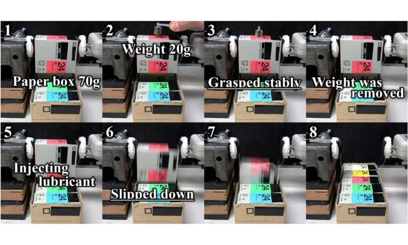 Robot control system for grasping and releasing objects under both dry and wet conditions
