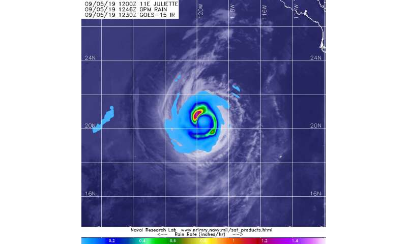 Satellite finds a 'hook' of heavy rainfall in Hurricane Juliette