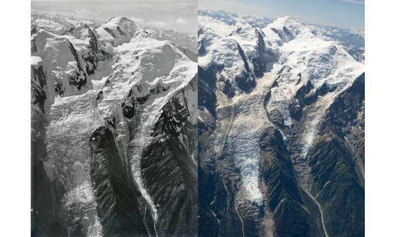 The University of Dundee has painstakingly recreated the images taken 100 years ago to highlight the extent of the melt