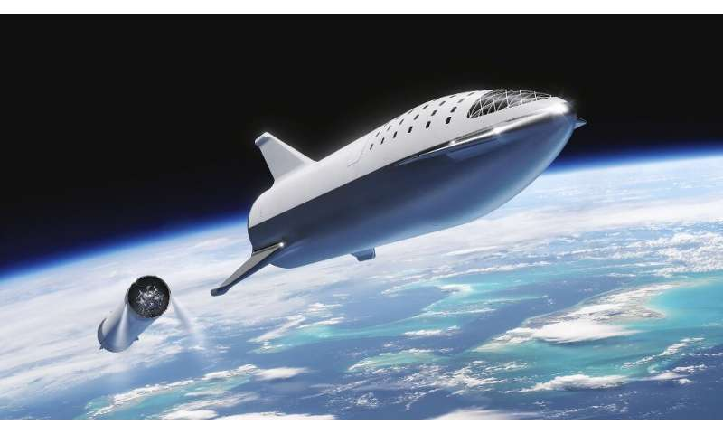 This artist's illustration courtesy of SpaceX shows the SpaceX BFR (Big Falcon Rocket) rocket passenger spacecraft which the com