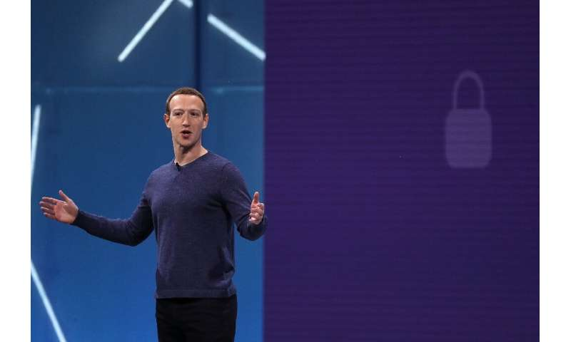 Facebook CEO Mark Zuckerberg, seen at the 2018 F8 developers conference, is seeking to shift the emphasis of the social network