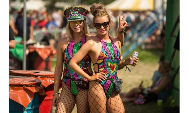 Festival-goers were enjoying the heatwave at the Glastonbury festival in southwestern England