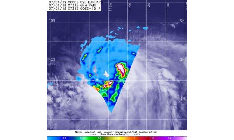 NASA looks at Tropical Storm Barbara's heavy rainfall