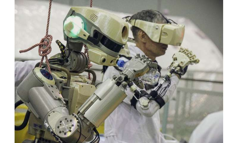 The lifesize robot is named Fedor, short for Final Experimental Demonstration Object Research
